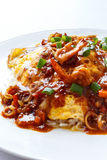 Thai omelette with spicy sour sauce Stock Image