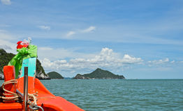 Thai orange boat sailing Stock Images