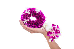 Thai orchid garland on hand Royalty Free Stock Photos