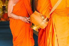Thai ordained situation monk ceremony or monkhood. With monk bowl of buddhist man in temple Thailand Royalty Free Stock Photos
