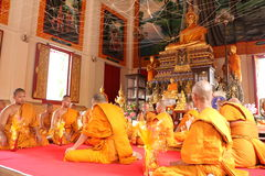 Thai Ordination Ceremony, Thailand - April 8, 2015. Ordination Ceremony at Thailand on April 8, 2015. This is Thai Culture for Every Man Becoming a New Monk or Stock Images