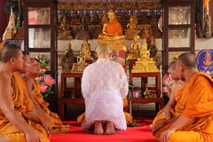 Thai Ordination Ceremony, Thailand - April 8, 2015. Ordination Ceremony at Thailand on April 8, 2015. This is Thai Culture for Every Man Becoming a New Monk or Royalty Free Stock Images