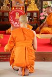 Thai Ordination Ceremony, Thailand - April 8, 2015. Ordination Ceremony at Thailand on April 8, 2015. This is Thai Culture for Every Man Becoming a New Monk or Stock Photo
