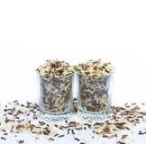 Thai organic rice. Thai White Red Jasmine and Fragment magenta rice, Organic Rice Stock Photo