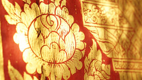 Thai oriental red and gold flower illustration pattern Stock Photography