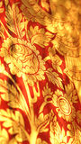Thai oriental red and gold flower illustration pattern Royalty Free Stock Photo