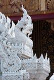 Thai ornaments. White naga sculpture from stucco Stock Photos
