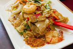 Thai Pad Kee Mao Rice Noodle with Prawns Dish Stock Photo