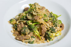 Thai Pad Satay - stir fry with broccoli and noodles Stock Photography