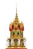 Thai Pagoda Decorate With Elephant Heads Isolated Background. Thai Style Pagoda Decorate With Elephant Heads on Isolated Background Gold And Yellow Tone Stock Photos