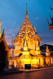 Thai pagoda at night Royalty Free Stock Images