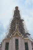Thai pagoda repairing in temple (Wat Arun Ratchawararam) Royalty Free Stock Photography