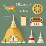 Thai Pagoda with temple of thailand Stock Photography