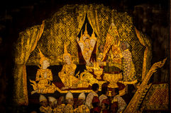 Thai painting. Ancient thai painting on wall in thailand buddha temple Royalty Free Stock Photo