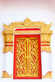 Thai painting craved window with mosaic frame Royalty Free Stock Photography