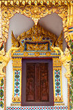 Thai painting craved window with mosaic frame Stock Photo