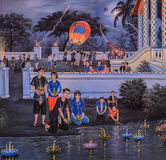 Thai painting of Loi Krathong festival Royalty Free Stock Photos