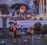 Thai painting of Loi Krathong festival Royalty Free Stock Photos
