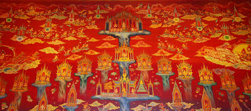 Thai painting on the wall in temple Stock Photo