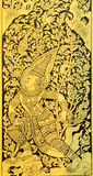 Thai painting on wood gold background Stock Photo