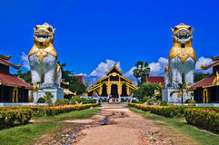 Thai palace temple in burma style Stock Photo