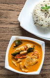 Thai panang curry with bowl of white and wild rice stock photo