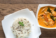 Thai panang curry with bowl of white and wild rice Stock Photography