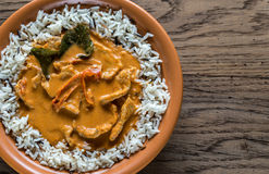 Thai panang curry with mix of white and wild rice Royalty Free Stock Images