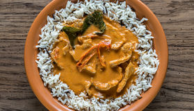 Thai panang curry with mix of white and wild rice Stock Images
