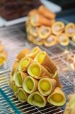 Thai pancake roll,thai dessert Stock Photo