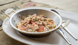 Thai Panned Egg with Minced pork. Breakfast Royalty Free Stock Photo