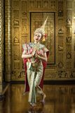Thai pantomime character In the role of Sita Dancing beautifully at the golden Thai-style house