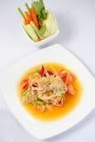 Thai papaya salad. On white background Royalty Free Stock Photography