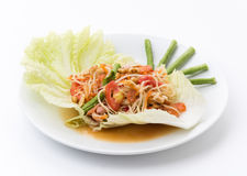 Thai papaya salad also known as Som Tum Royalty Free Stock Images
