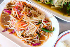 Thai papaya salad also known as Som Tum. From Thailand Royalty Free Stock Photo