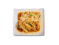Thai Papaya salad, without chili pepper. Isolated Royalty Free Stock Image