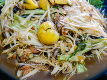 Thai papaya salad. Close up of Thai papaya salad Stock Image