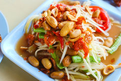 Thai papaya salad closeup. Thai papaya salad hot and spicy mixed from variety of vegetable closeup stock photography