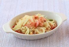 Thai papaya salad delicious in bowl Stock Image