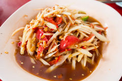 Thai papaya salad. Papaya salad, the famous food of thai royalty free stock photos