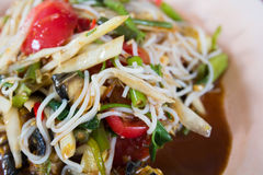 Thai papaya salad. Papaya salad, the famous food of thai royalty free stock images