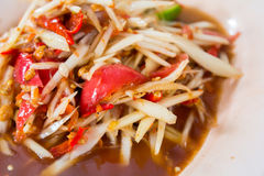 Thai papaya salad. Papaya salad, the famous food of thai stock photo