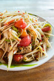 Thai papaya salad. Papaya salad, the famous food of thai stock photos