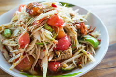 Thai papaya salad. Papaya salad, the famous food of thai royalty free stock image