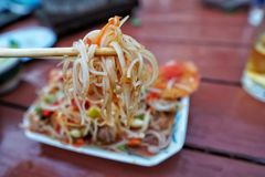 Thai papaya salad in foam cup Royalty Free Stock Images