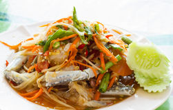 Thai Papaya salad with fresh horse crab. In seafood restaurant royalty free stock image