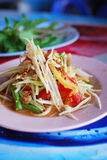 Thai papaya salad hot and spicy. Mixed from variety of vegetable closeup , also know as Som Tam Royalty Free Stock Photos