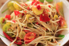 Thai papaya salad. Hot and spicy mixed from variety of vegetable Stock Photography