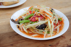 Thai papaya salad hot and spicy. Mixed from variety of vegetable closeup also know as Som Tam Stock Photos