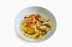 Thai papaya salad. Isolated on white Royalty Free Stock Images